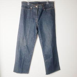 J. Crew Wide Leg Button Fly Frayed Hem Jean's